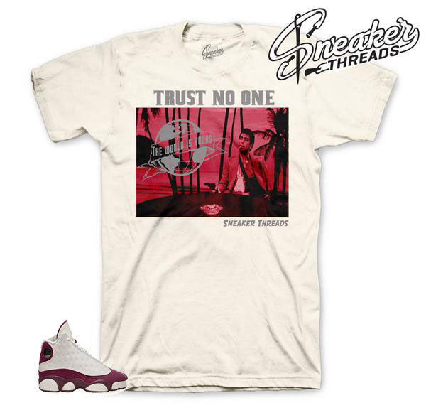 Bordeaux 13 sneaker matching shirts and tees.