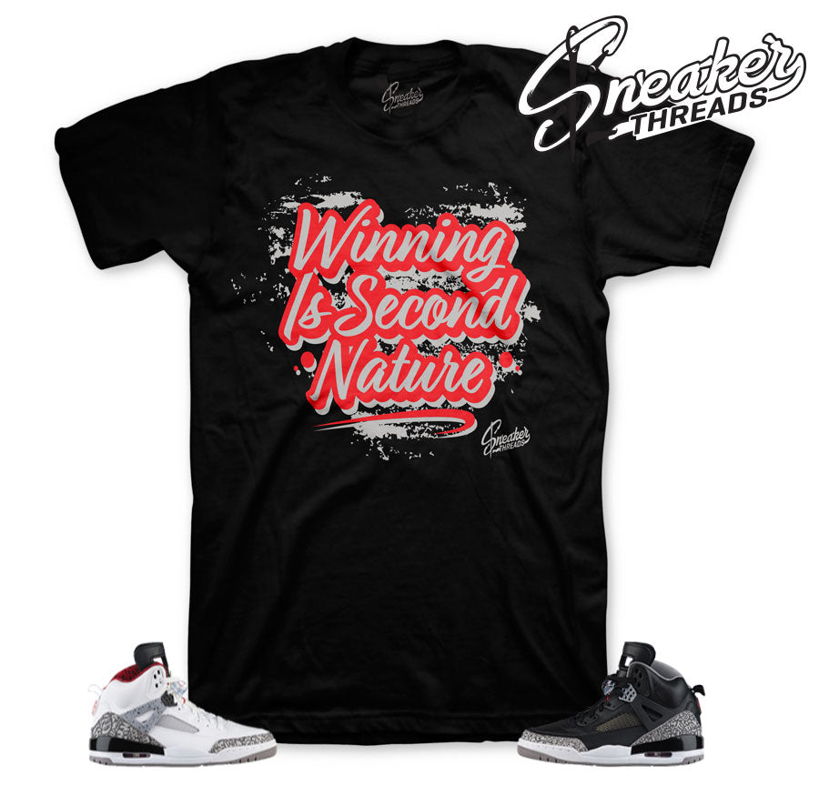 Jordan spizike black cement tees and clothing match cement shoes.