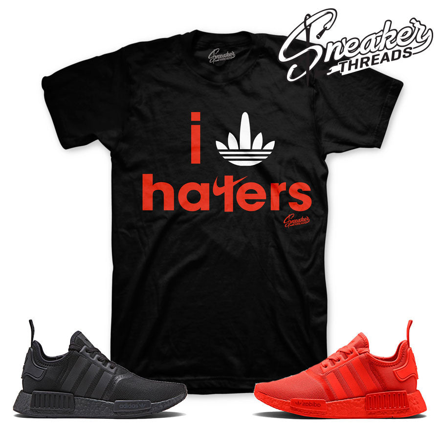 Adidas NMD r1 tee match solar red sneakers. NEW 2017