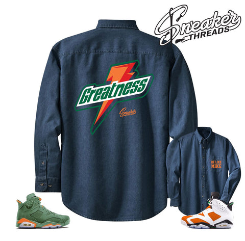 Denim shirt match Jordan 6 gatorade | Win like mike retro 6's shoes.