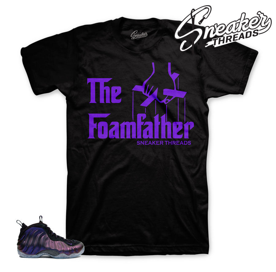 Foam eggplant tees match foamposite shoes.