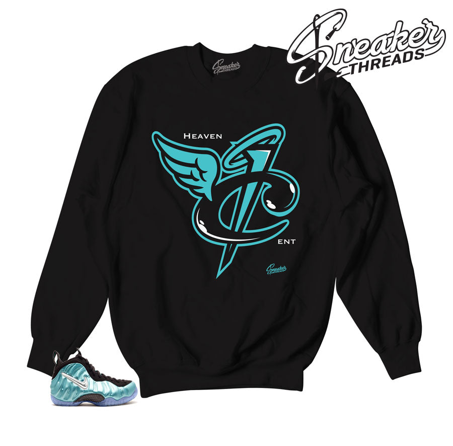 Island green foamposite sweaters match foam sneaker sweater.