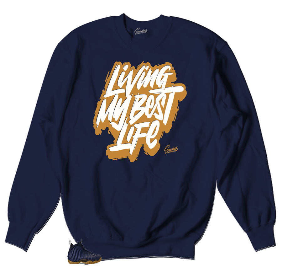 Crewneck sweater designed to match the sneaker Foamposite midnight navy