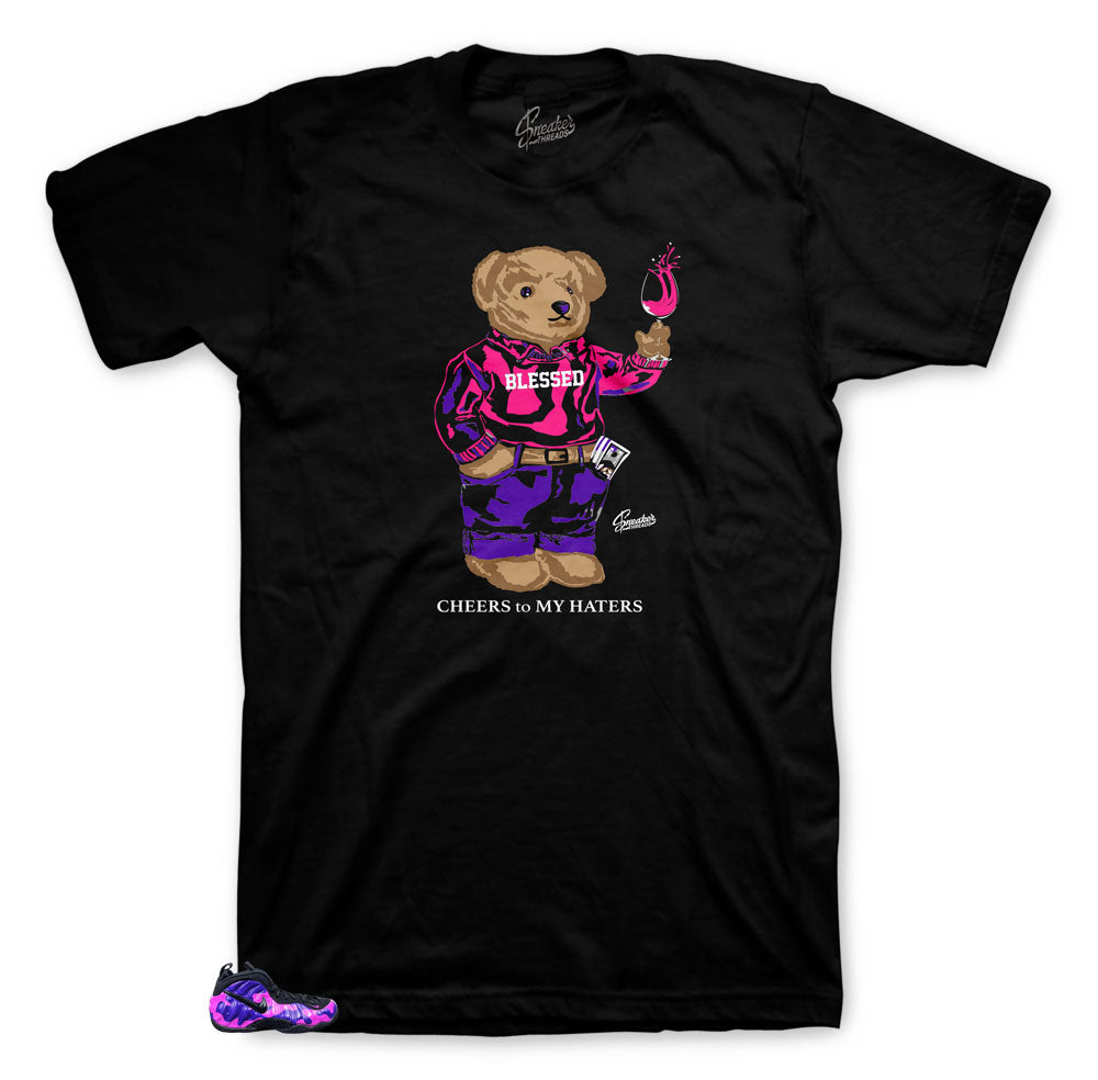 Foamposite purple camo collection has matching tees designed to match the camo foamposite sneakers
