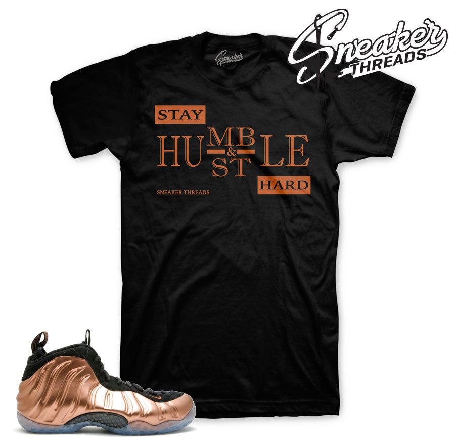 Foamposite copper shirts match foam copper metallic sneakers.