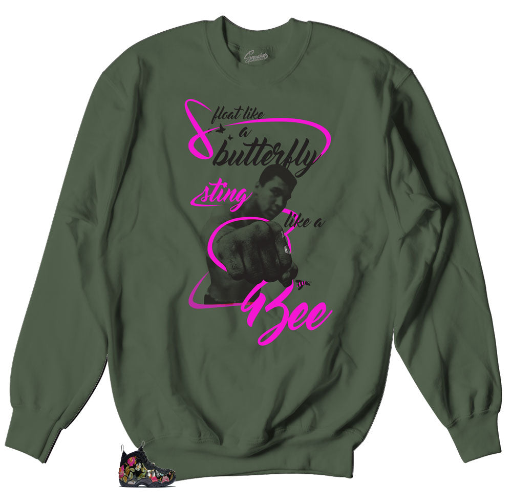 Crewneck sweaters designed to match Floral foamposite valentines sneaker collection