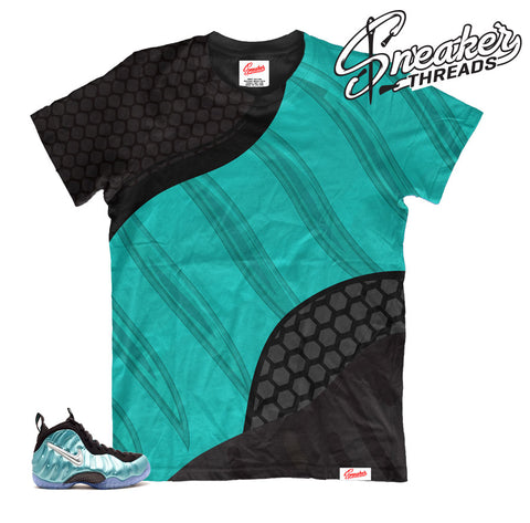 Island green foamposite shirts match | Sublimation foam sneaker tee.