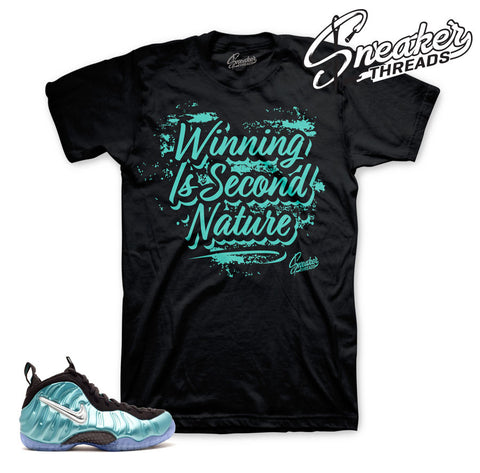 Foamposite island green official matching tees shirts.
