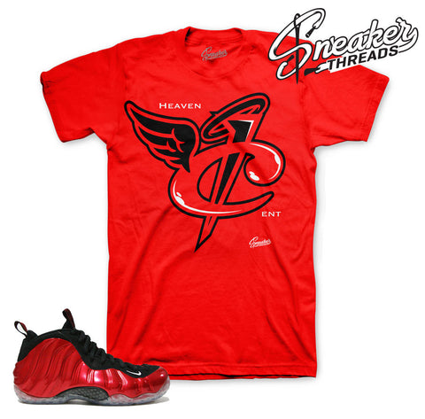 Foamposite metallic red shirt match varsity red shoes.