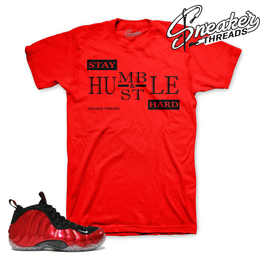 Foamposite varsity red tee match foam official tees.