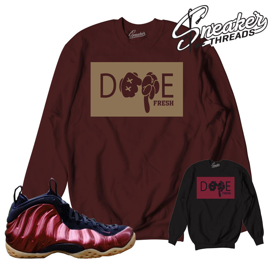 Foamposite night maroon sweaters match foams. Bobby fresh crew.