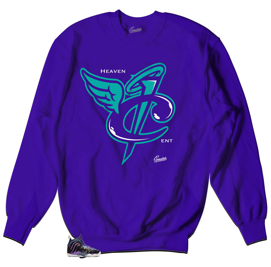 Foamposite Iridescent Sneaker matching crewneck sweater made to match Foamposite collection