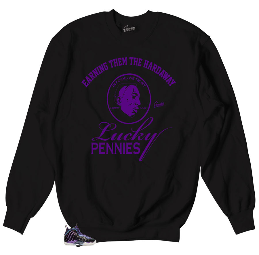 Black crewneck seaters made to match Foamposite Iridescent sneaker collection