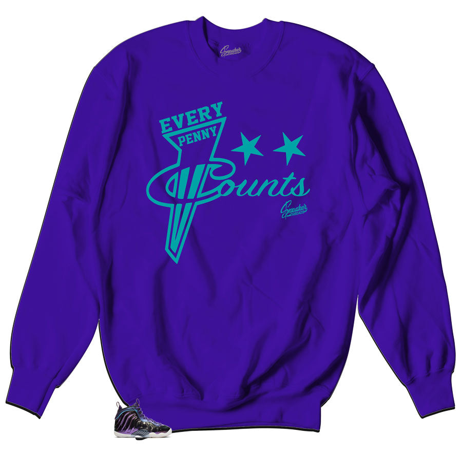 Purple crewneck sweater that is matching to sneaker Foamposite iridescent sneaker collection