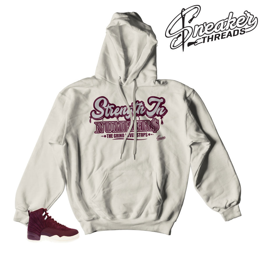 Jordan 12 bordeaux sweatshirts and hoodies to match retro 12.