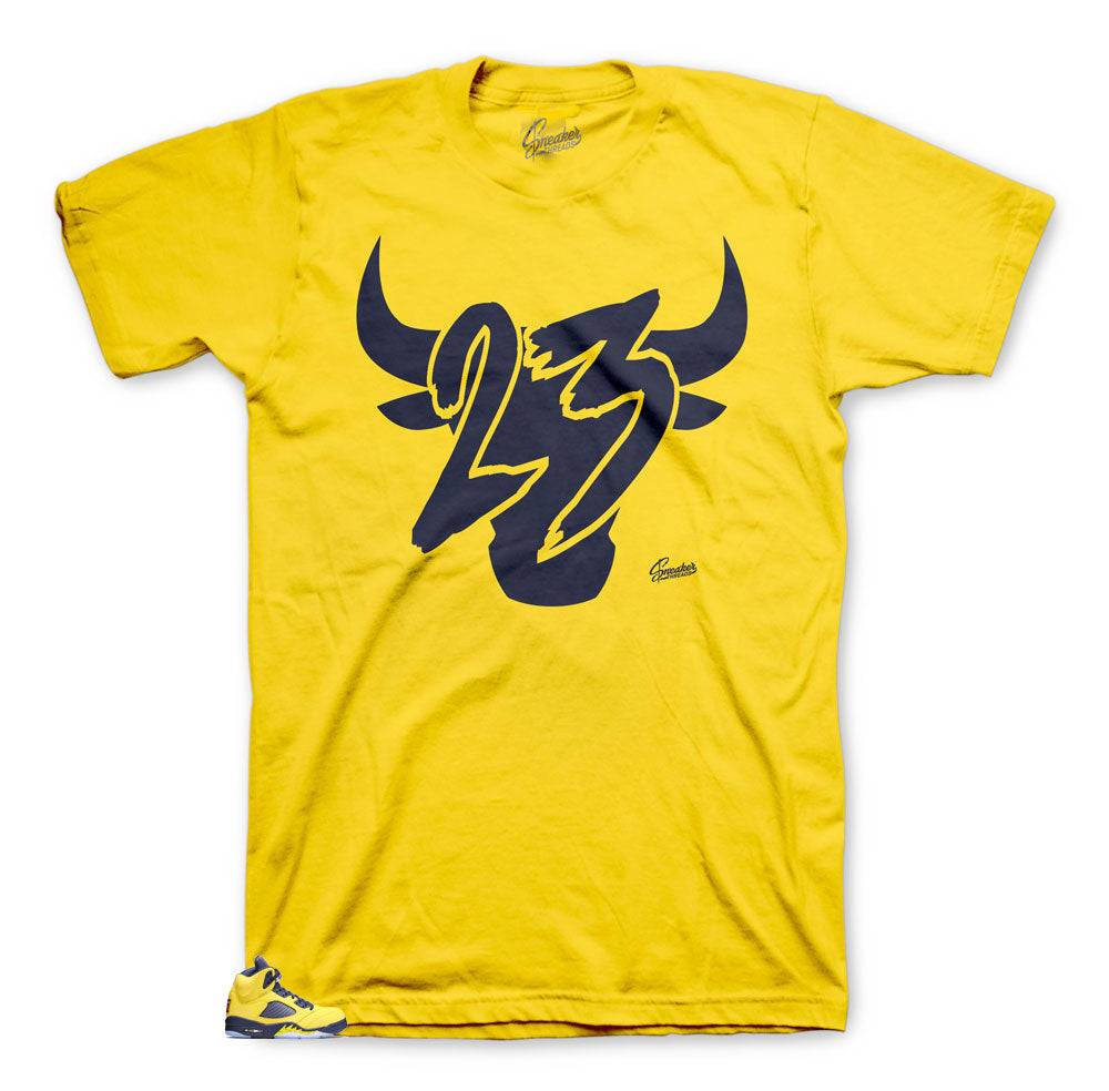JOrdan 5 Michigan has matching shirts created to match the Michigan 5s.