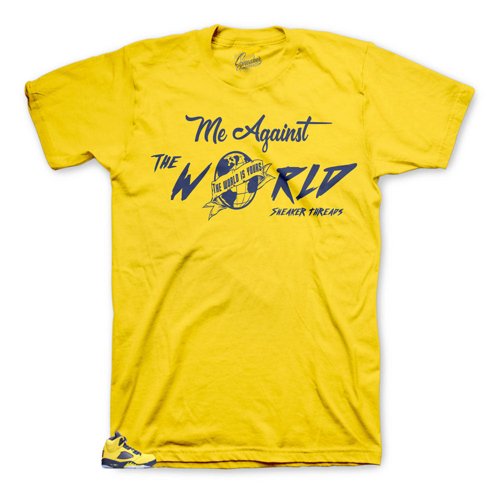Jordan 5 ichigan sneaker has matching tees made to match perfectly with Jordan 5 Michigans