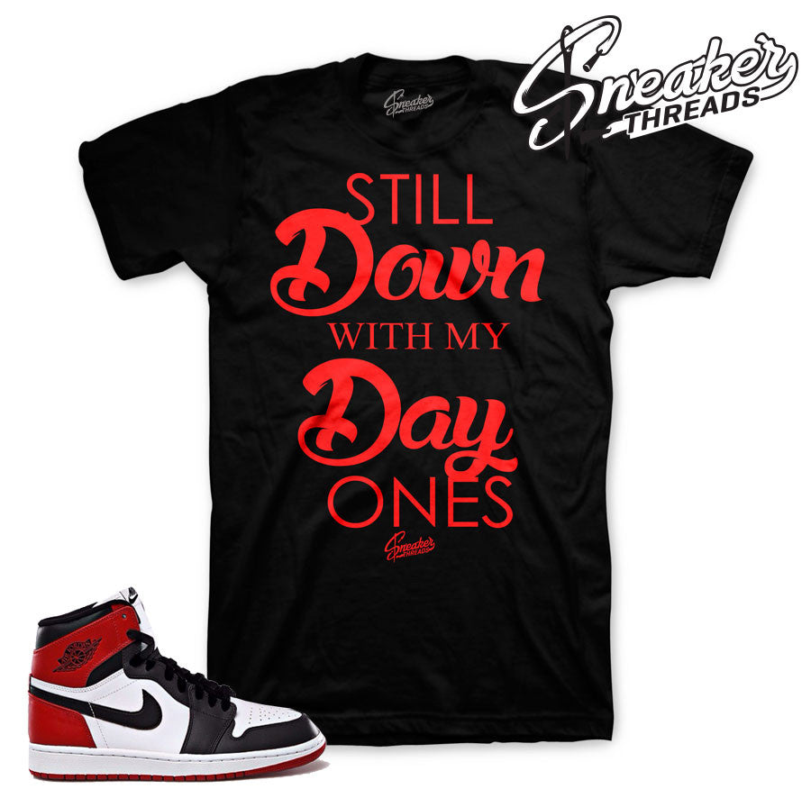 Jordan 1 black toe shirts match shoes. Black toe tees.