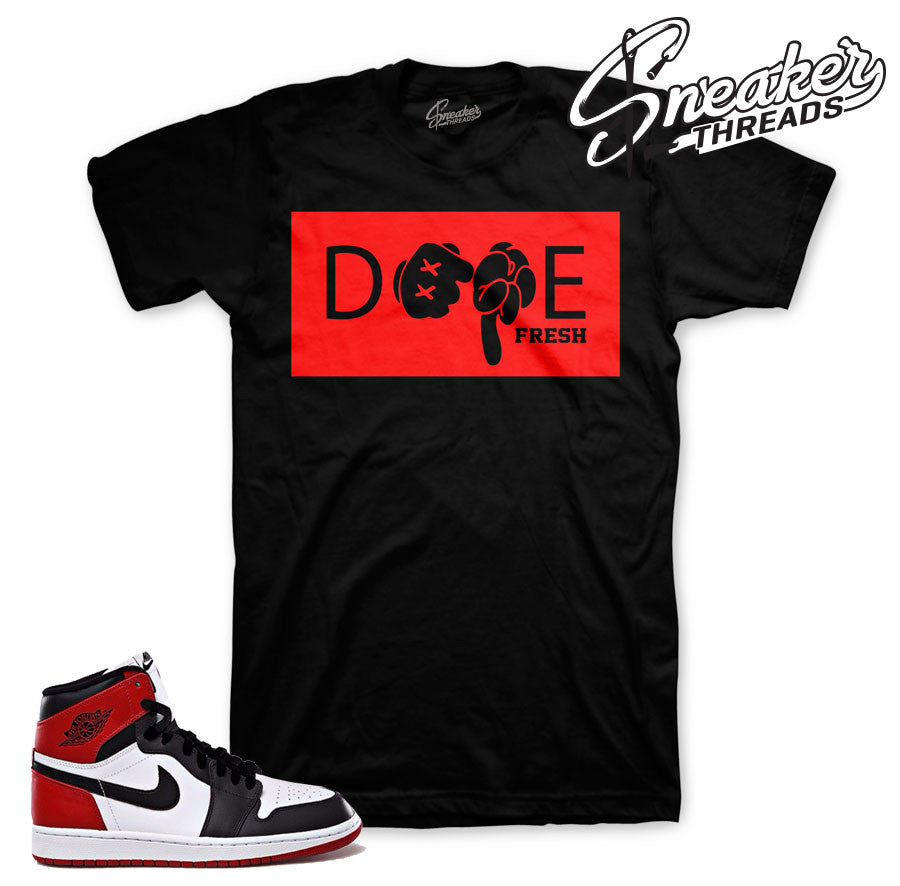 Jordan 1 black toe clothing match shoes. Black toe tees.