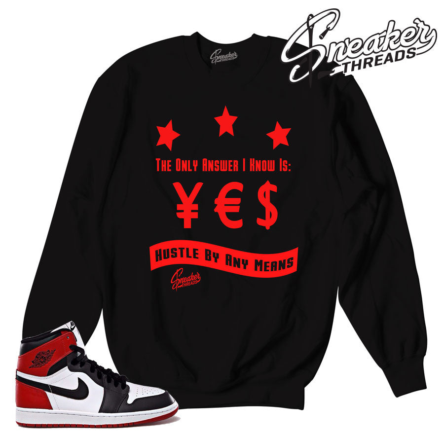 Black toe retro 1 crewnecks. Black toe crews match shoes.