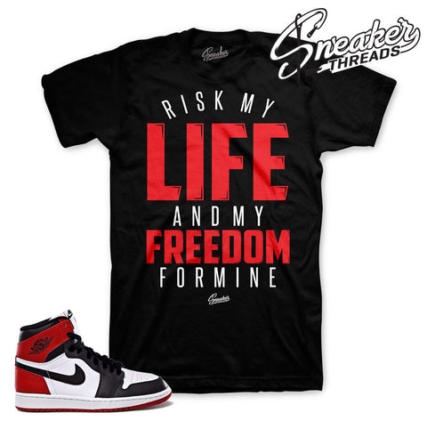 Black toe jordan 1 tees match OG shoes. Black toe tees.