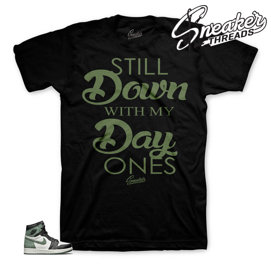 Green clay Jordan 1 tee shirts match best hand in game tee.