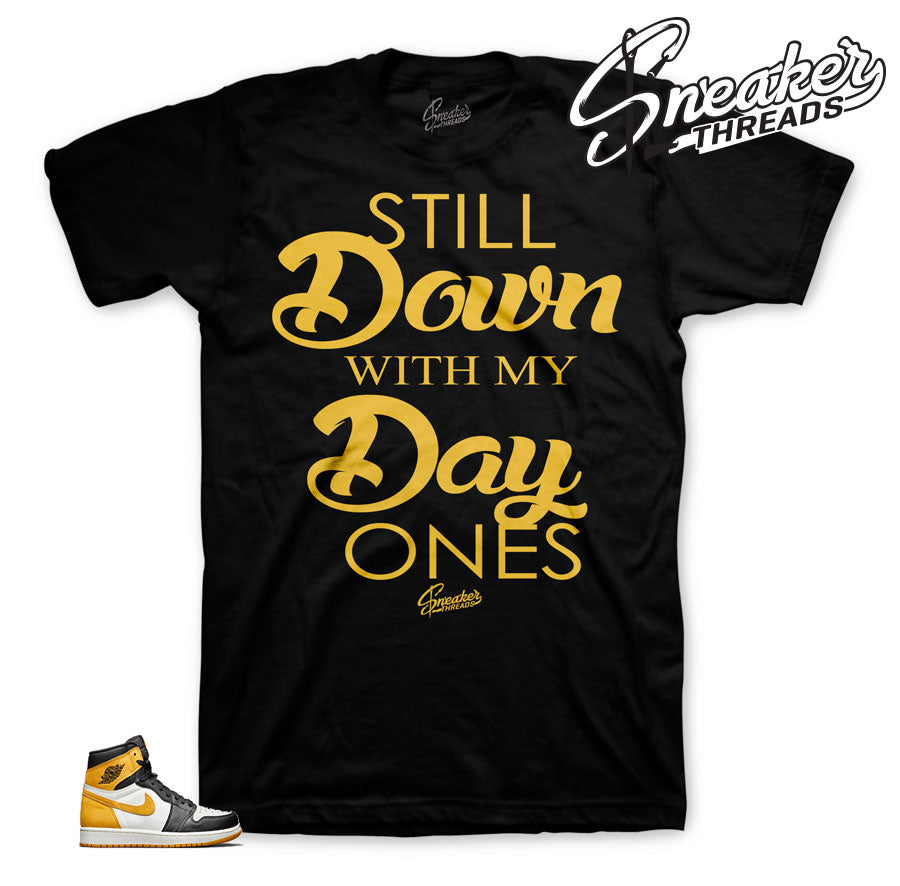 Yellow ocre Jordan 1 tee shirts match best hand in game tee.