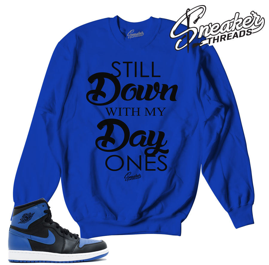 Sweaters match jordan 1 royal OG retro 1 shoes.