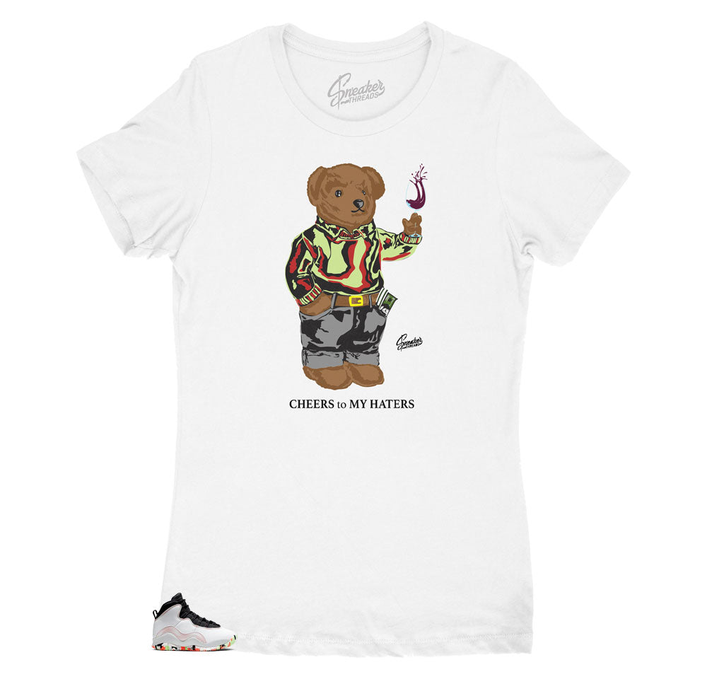 Womens Jordan 10 Ember Glow Cheers Bear Shirt