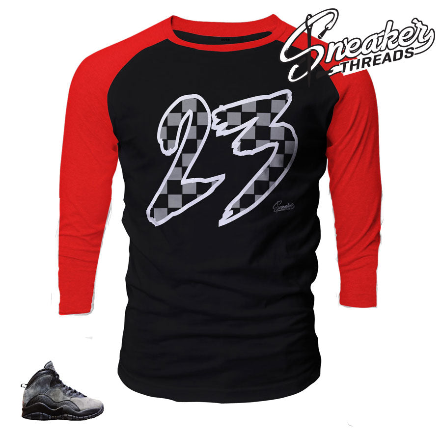 Jordan 10 shadow raglan tee shirts match retro 10shoes.