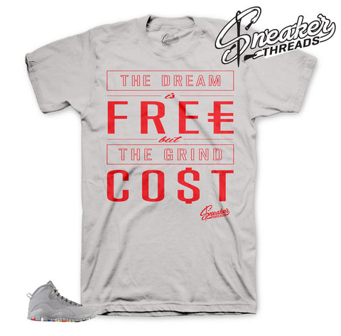Cool grey Jordan 10 sneaker matching clothing. Retro 10 cool grey tee.