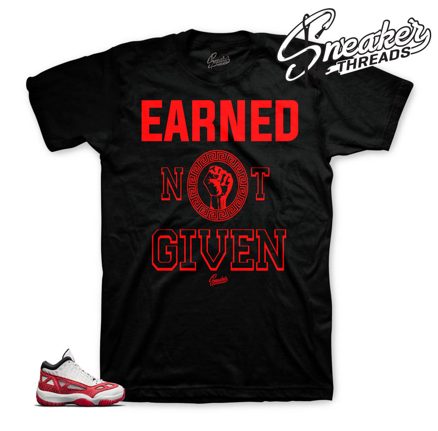 Official matching Jordan 11 IE fire red shirts and clothing.