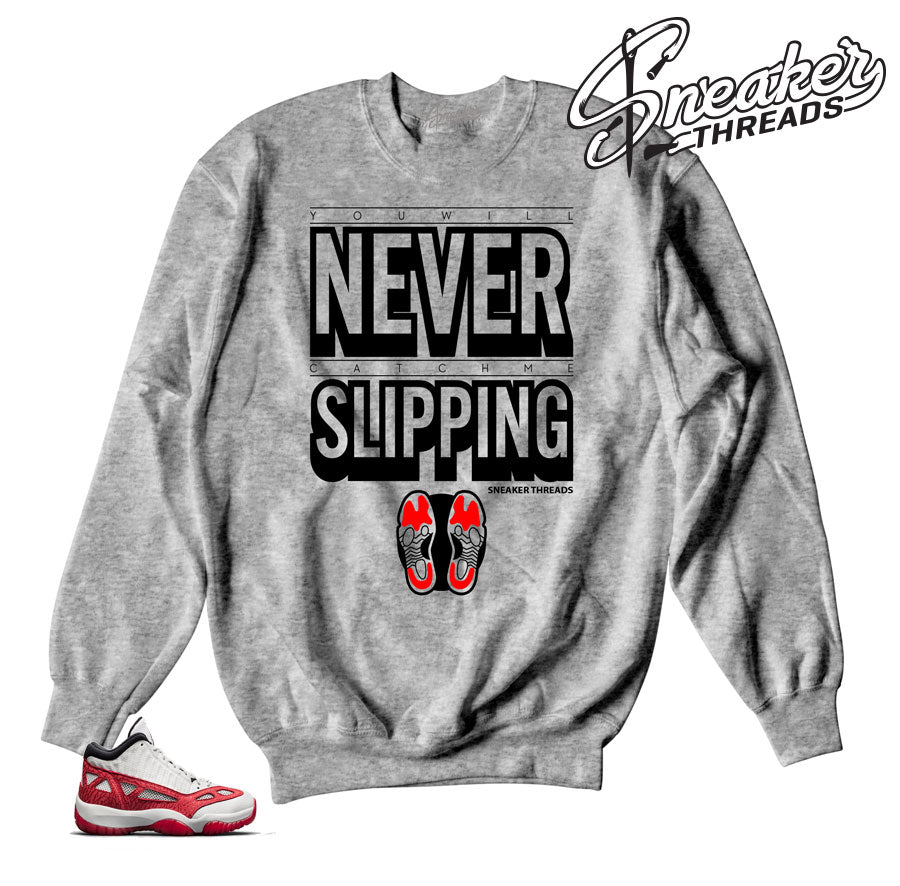 Jordan 11 IE fire red sweatshirts match retro 11s shoes..