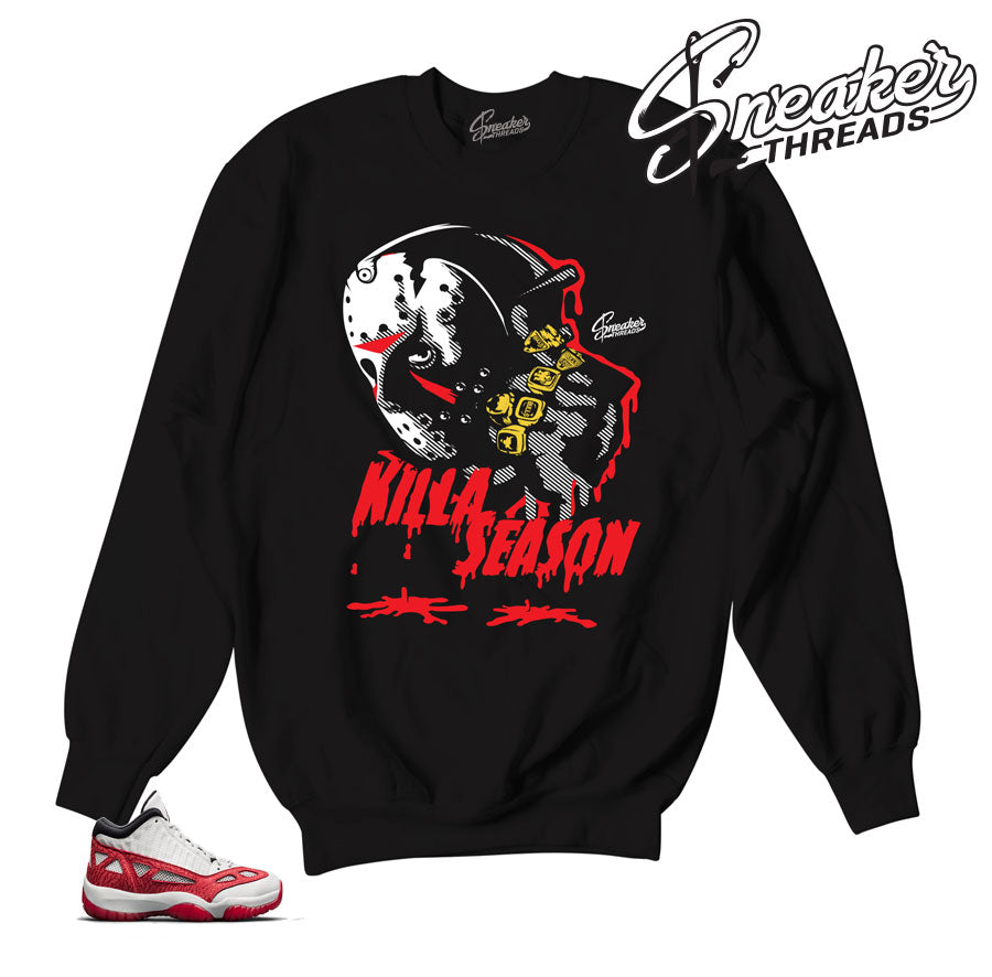 Sweaters match Jordan 11 IE fire red retro 11 sweatshirts.