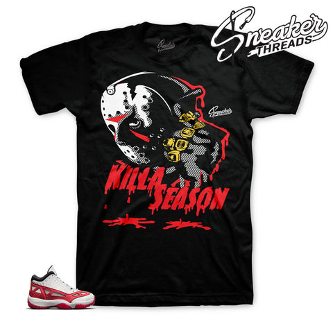 Jordan 11 IE fire red clothing | Sneaker match shirts and tees.