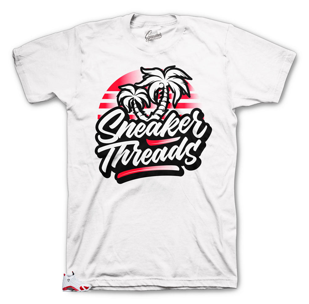 36bb0f51f9680b Retro Jordan 14 Sneaker Candy Cane Collection has matching tees made to  match retro Jordan 14