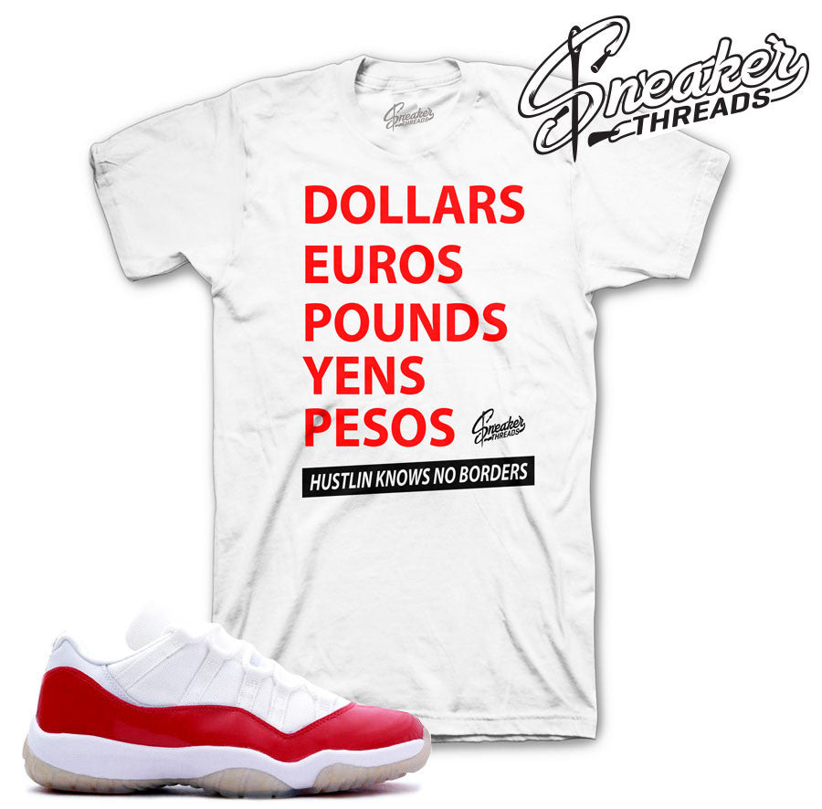 Shirts match Jordan 11 varsity red retro 11 low varsity red tees.