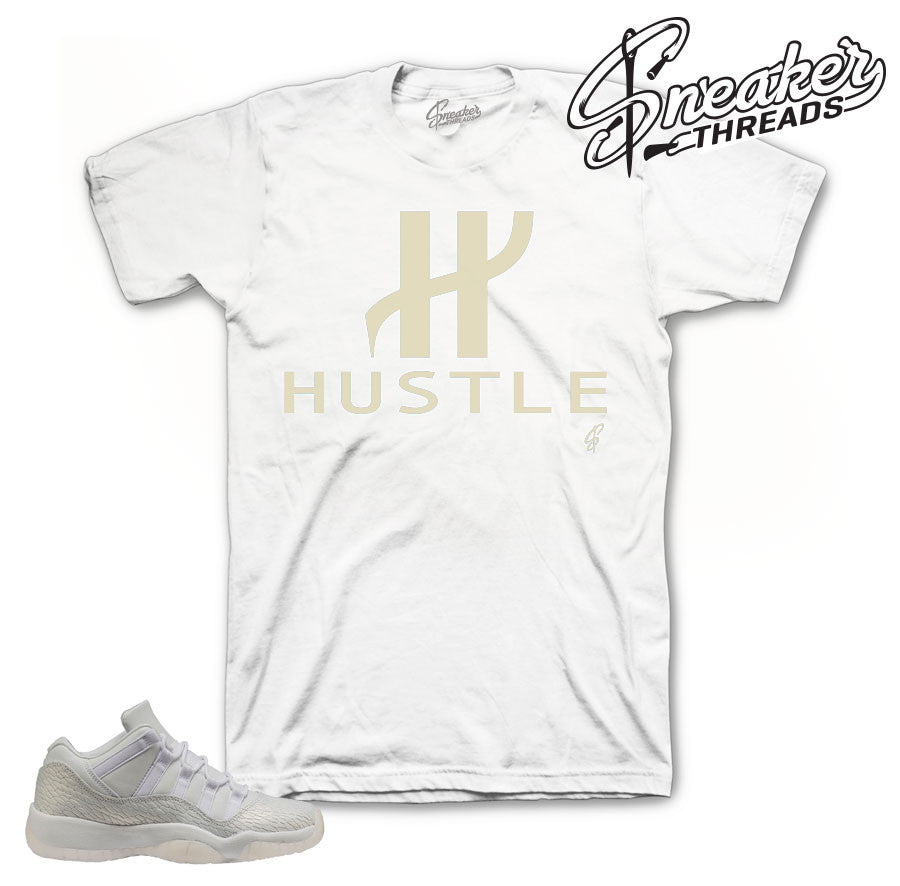 Frost white Jordan 11 tees match retro 11 low heiress.
