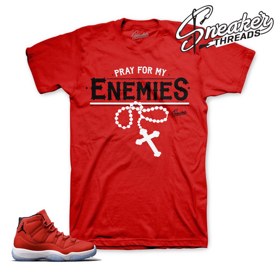 Jordan 11 gym red shirt match retro 11's gym red t shirt.