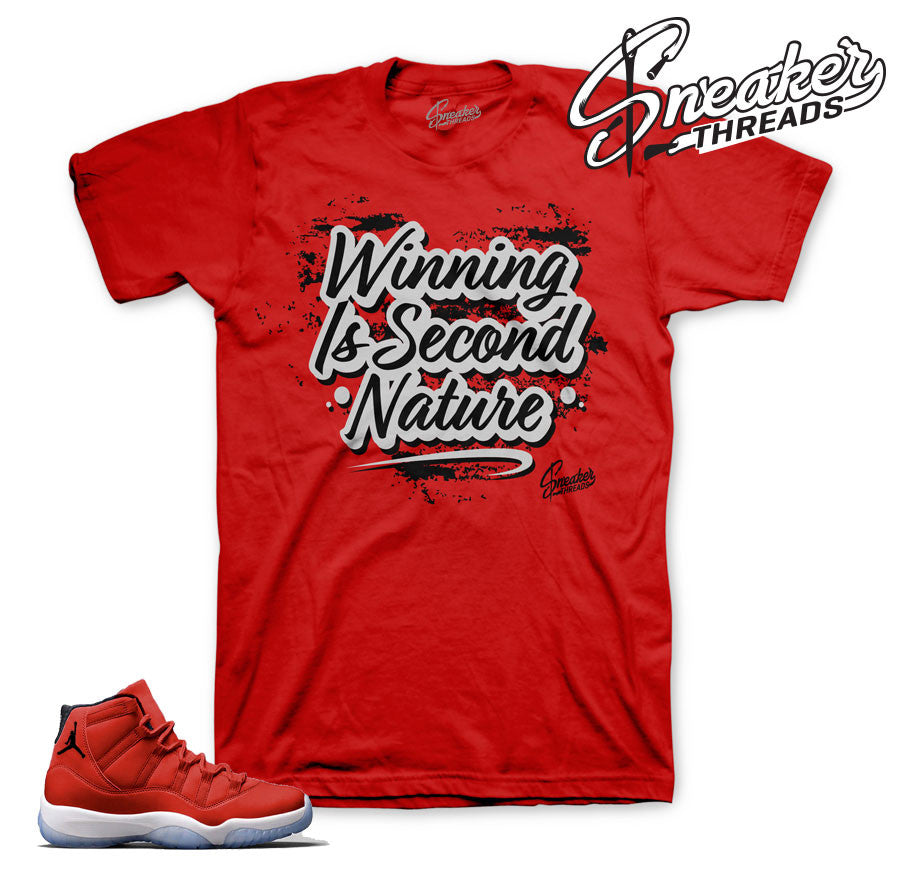 Jordan 11 gym red official matching t shirts and clothing.