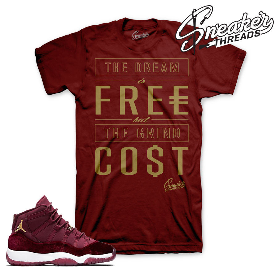 Jordan 11 heiress shirts match retro 11 velvet maroon tees.