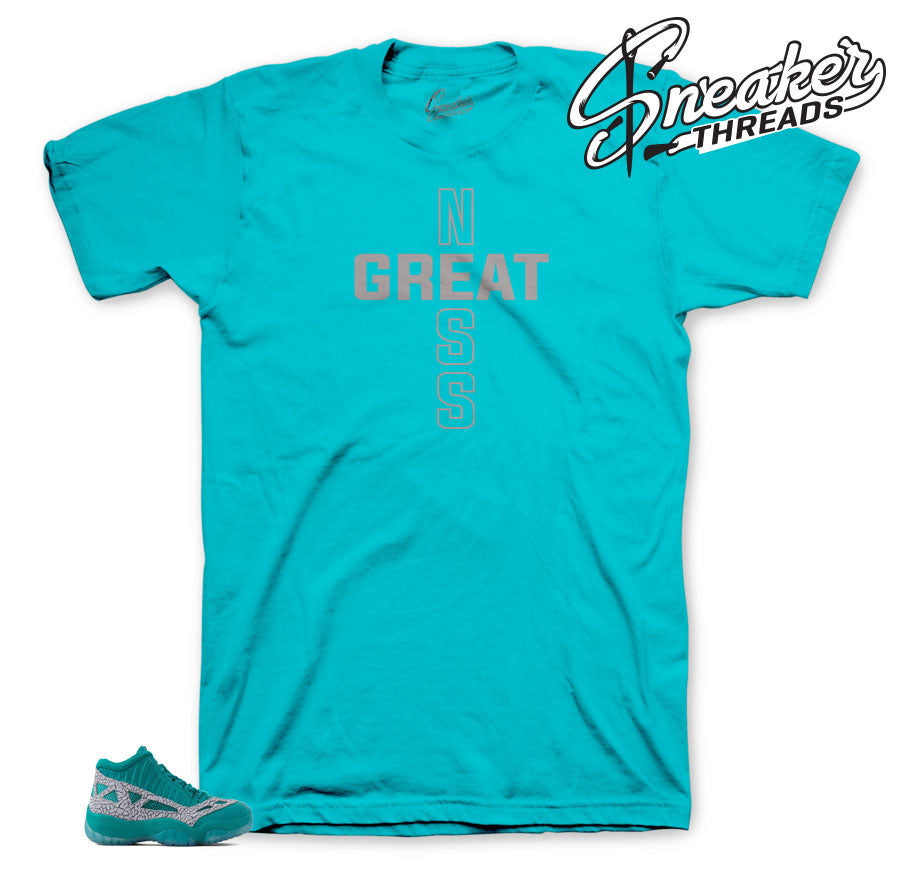 Official matching Jordan 11 rio teal sneaker tees for retro 11 ie shoes.
