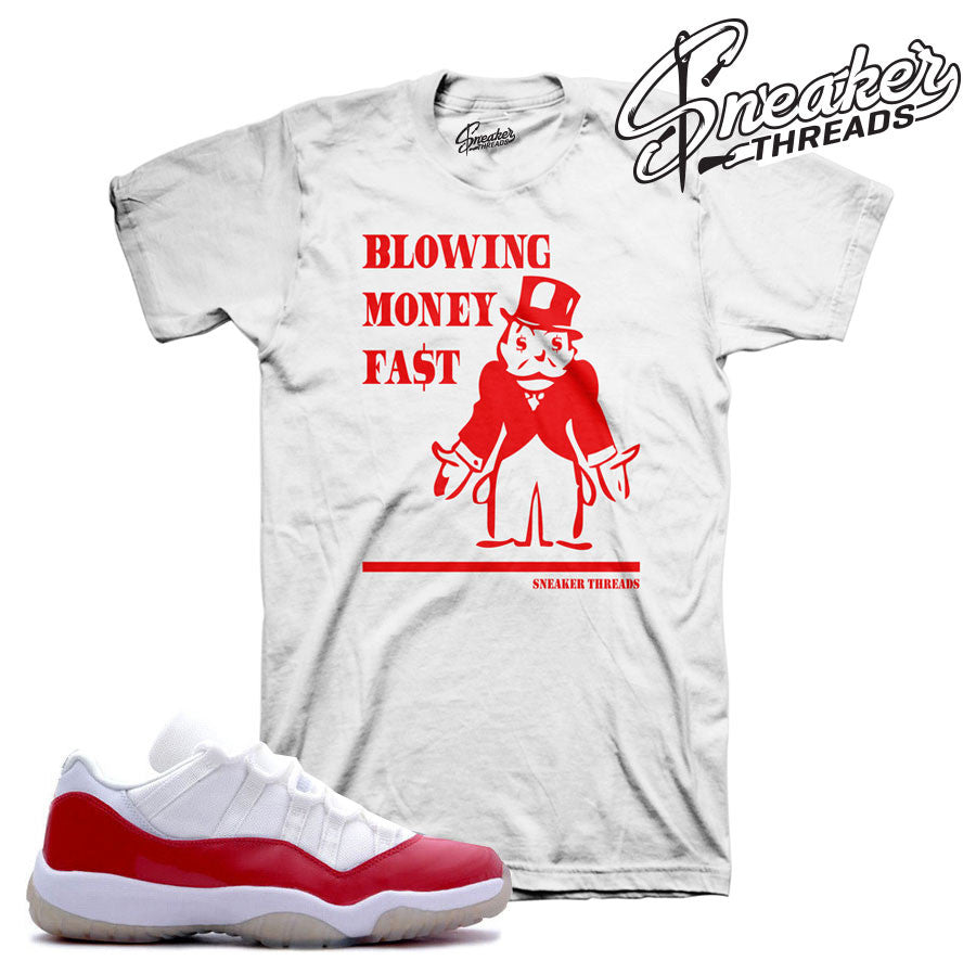 Jordan 11 low cherry tees match retro 11 varsity red tees.
