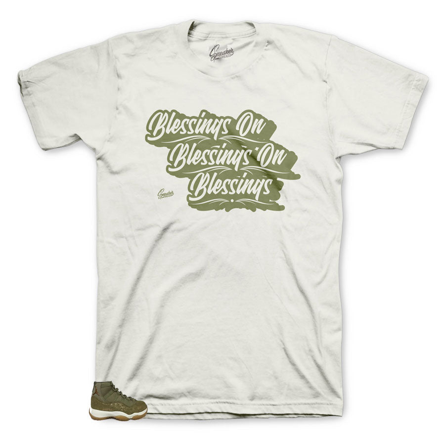 Jordan 11 olive lux sneaker t-shirts match retro 11 olive lux match shirt