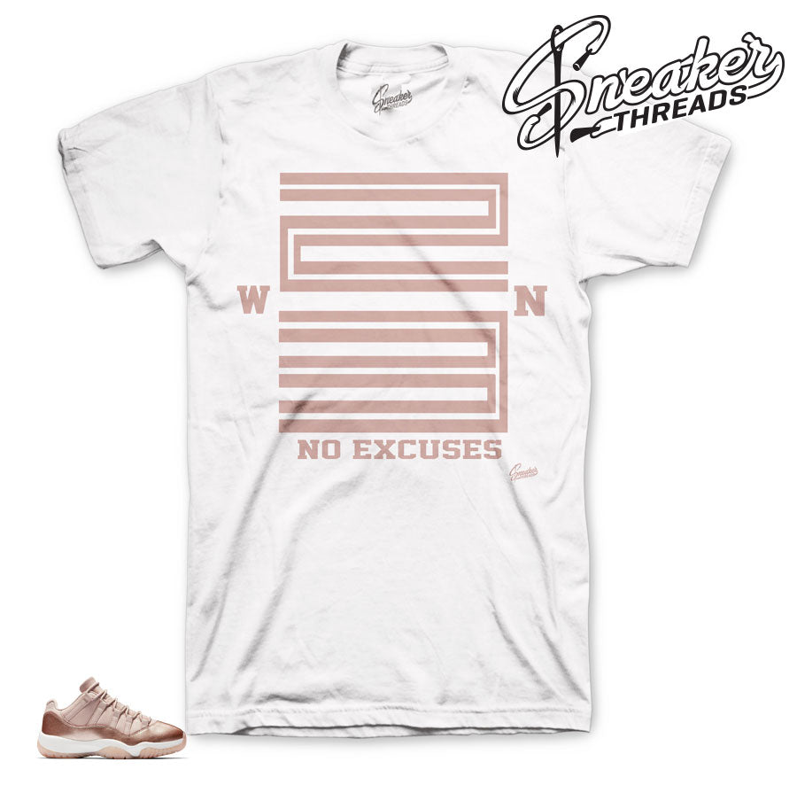 Jordan 11 rose gold sneaker shirts | Retro 11 low sneaker tees.