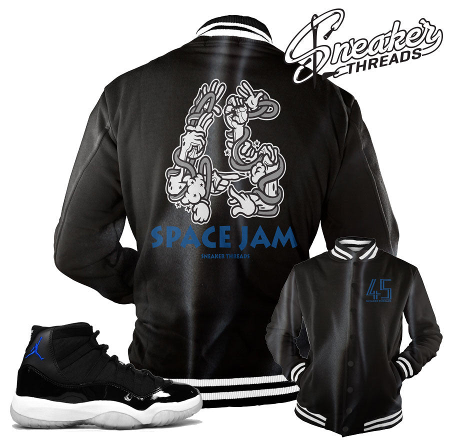 Jordan 11 space jam jackets match retro 11 space jam coat.