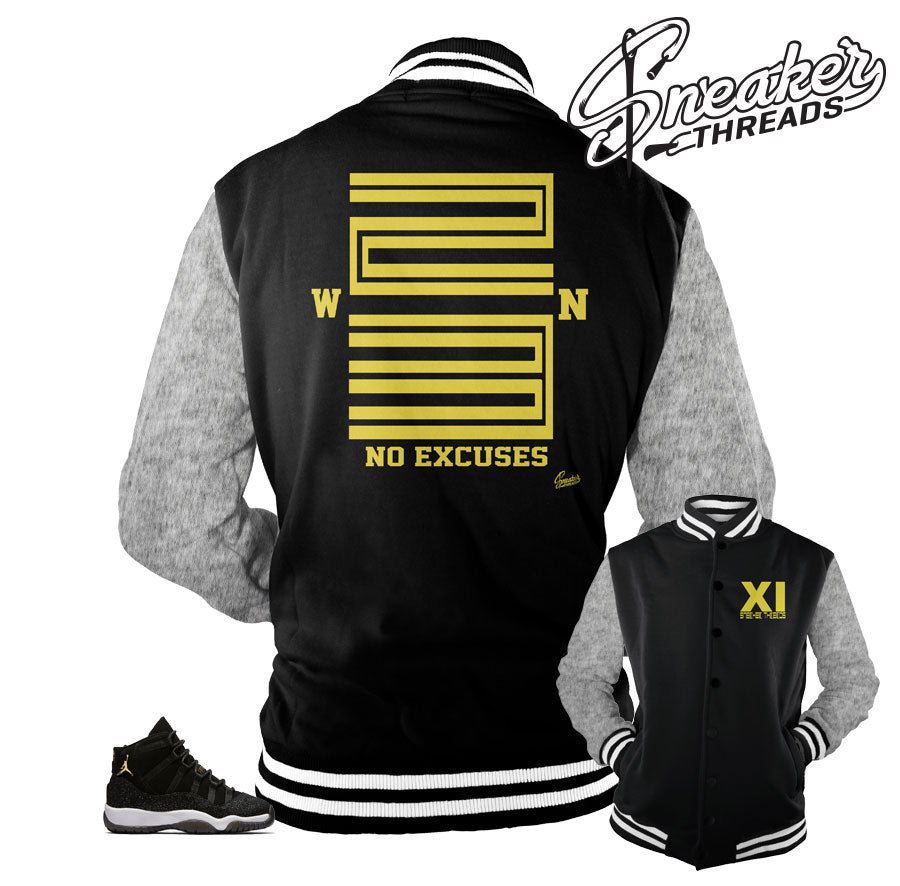 Varsity jacket match Jordan 11 stingray heiress shoes.