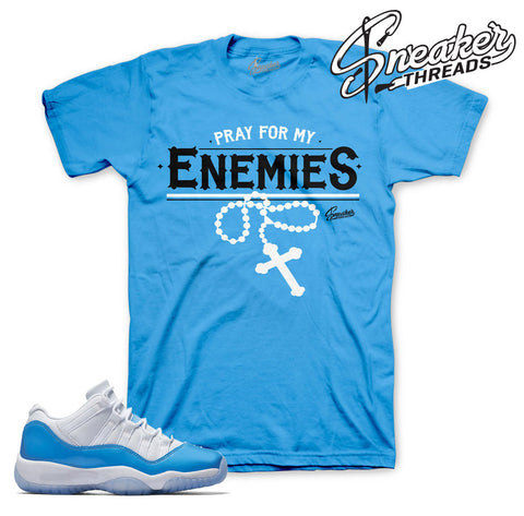 University blue jordan 11 official sneaker tees match shoes.