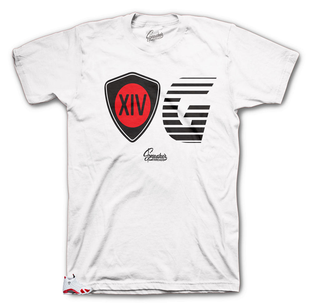 Jordan 14 Candy Cane Sneaker Tees Match | Retro 14s white Varsity Red