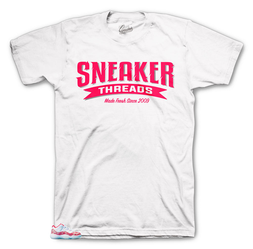 Sneaker threads tees to match Jordan 11 Low Snakeskin pink